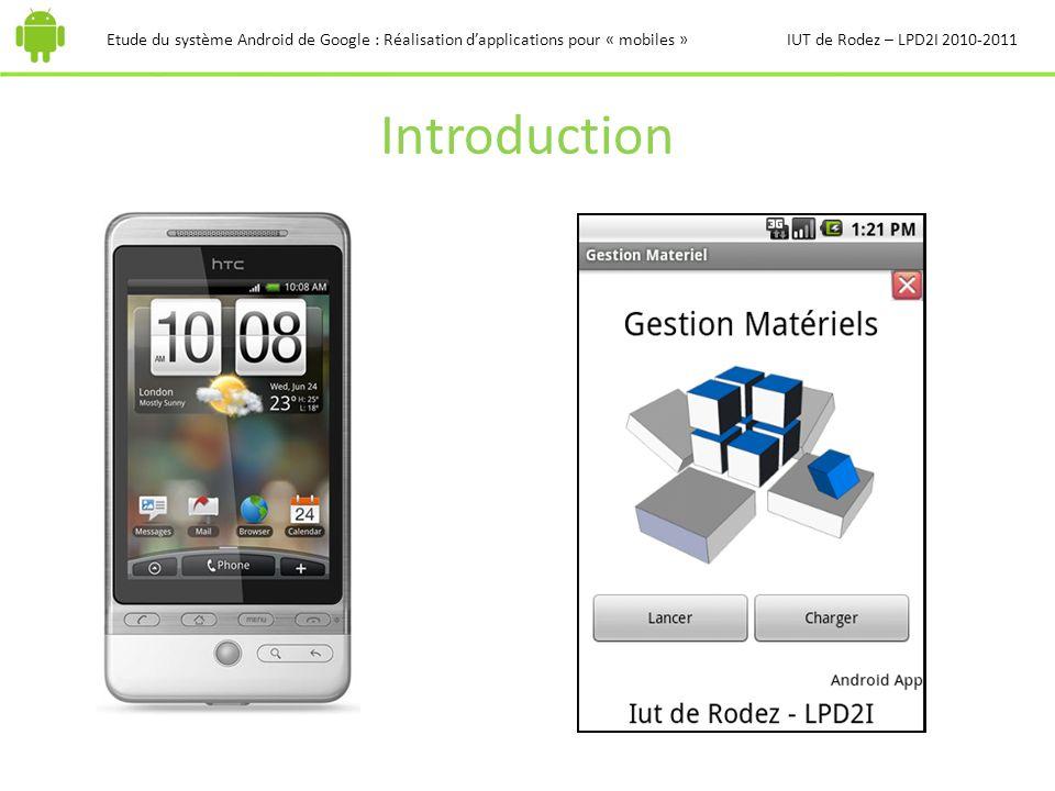 Introduction Etude du système Android de Google : Réalisation dapplications pour « mobiles »IUT de Rodez – LPD2I 2010-2011