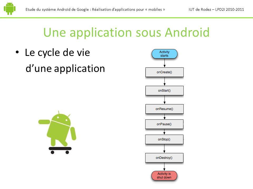 Une application sous Android Etude du système Android de Google : Réalisation dapplications pour « mobiles »IUT de Rodez – LPD2I 2010-2011 Le cycle de