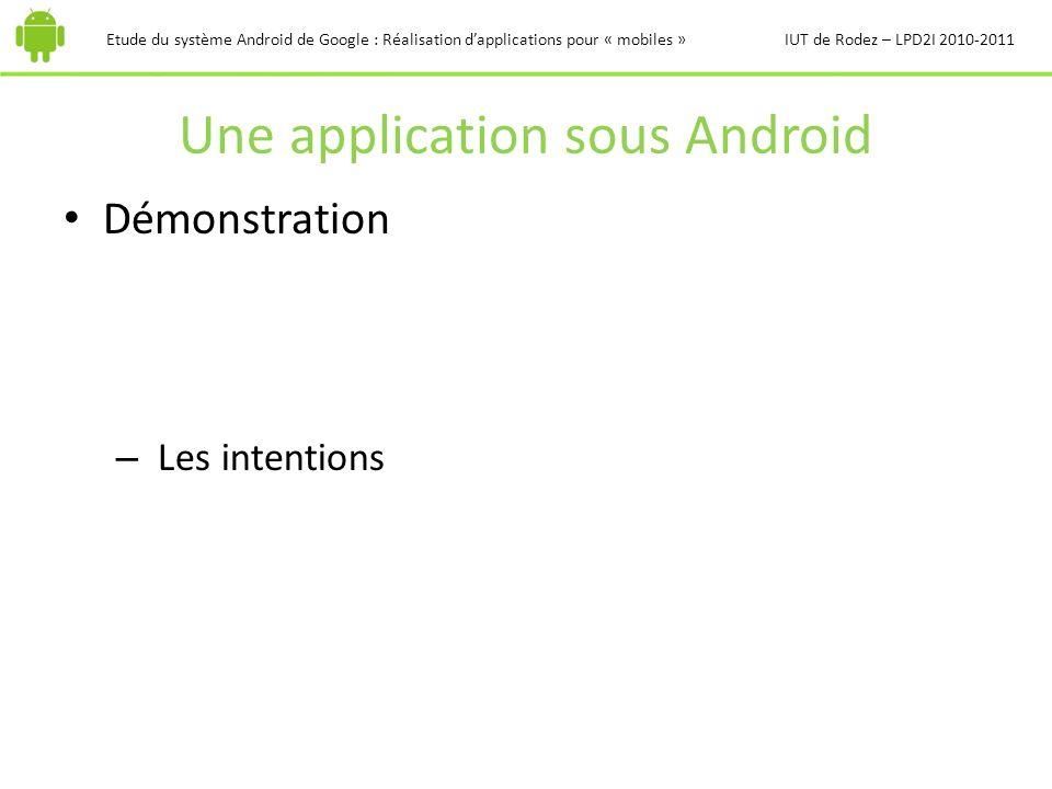 Une application sous Android Etude du système Android de Google : Réalisation dapplications pour « mobiles »IUT de Rodez – LPD2I 2010-2011 Démonstrati