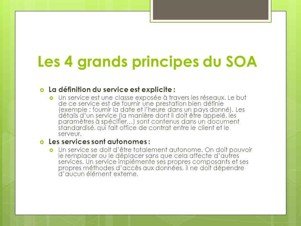 Les 4 grands principes du SOA La définition du service est explicite : Un service est une classe exposée à travers les réseaux. Le but de ce service e