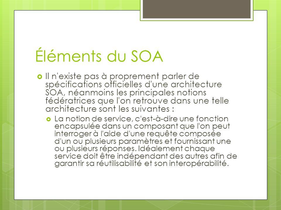 Éléments du SOA Il n'existe pas à proprement parler de spécifications officielles d'une architecture SOA, néanmoins les principales notions fédératric