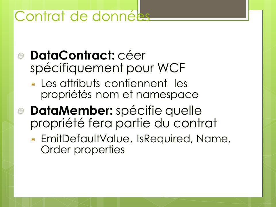 Contrat de données DataContract: céer spécifiquement pour WCF Les attributs contiennent les propriétés nom et namespace DataMember: spécifie quelle pr
