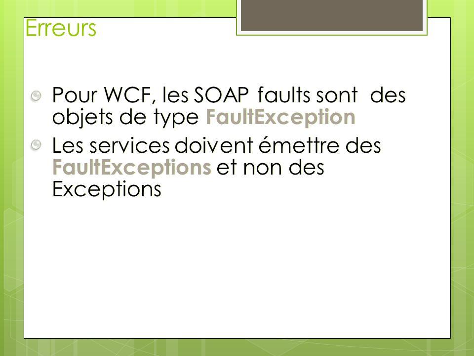 Erreurs Pour WCF, les SOAP faults sont des objets de type FaultException Les services doivent émettre des FaultExceptions et non des Exceptions Pour W