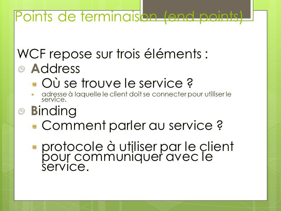 Points de terminaison (end points) WCF repose sur trois éléments : A ddress Où se trouve le service ? adresse à laquelle le client doit se connecter p