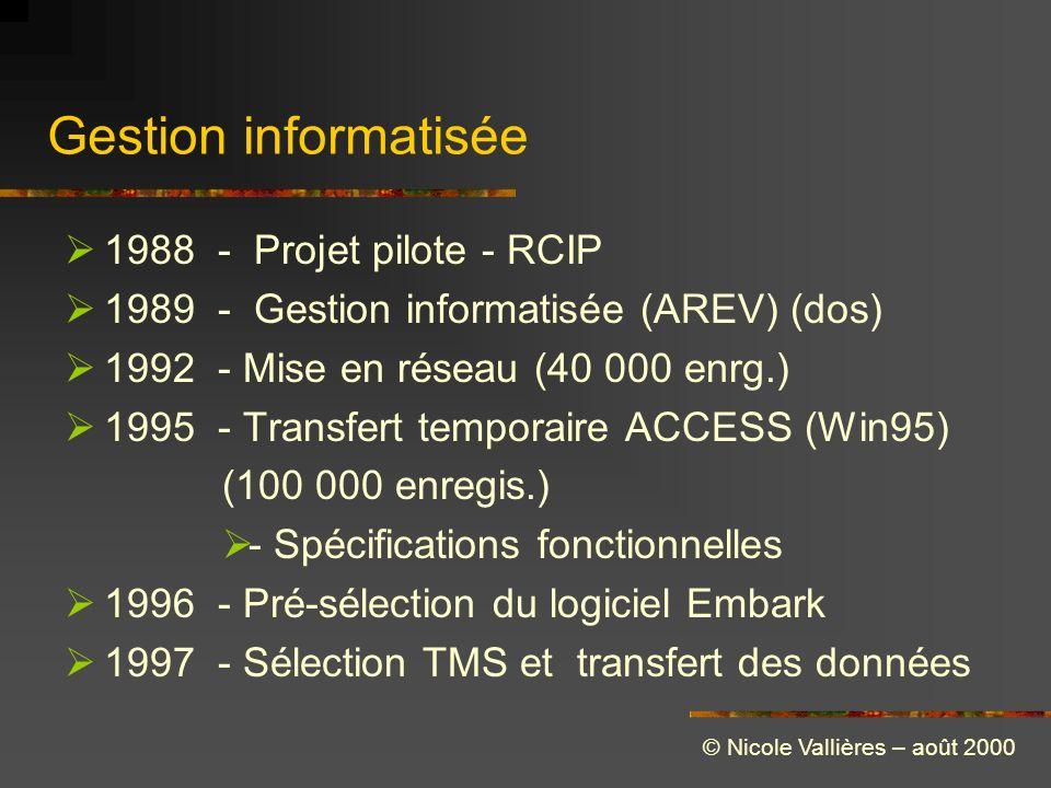 Gestion informatisée 1988 - Projet pilote - RCIP 1989 - Gestion informatisée (AREV) (dos) 1992 - Mise en réseau (40 000 enrg.) 1995 - Transfert temporaire ACCESS (Win95) (100 000 enregis.) - Spécifications fonctionnelles 1996 - Pré-sélection du logiciel Embark 1997 - Sélection TMS et transfert des données © Nicole Vallières – août 2000