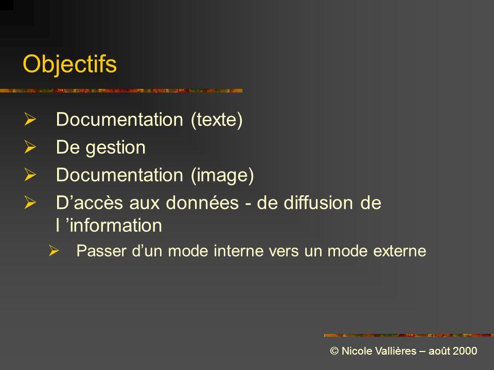 Objectifs Documentation (texte) De gestion Documentation (image) Daccès aux données - de diffusion de l information Passer dun mode interne vers un mode externe © Nicole Vallières – août 2000