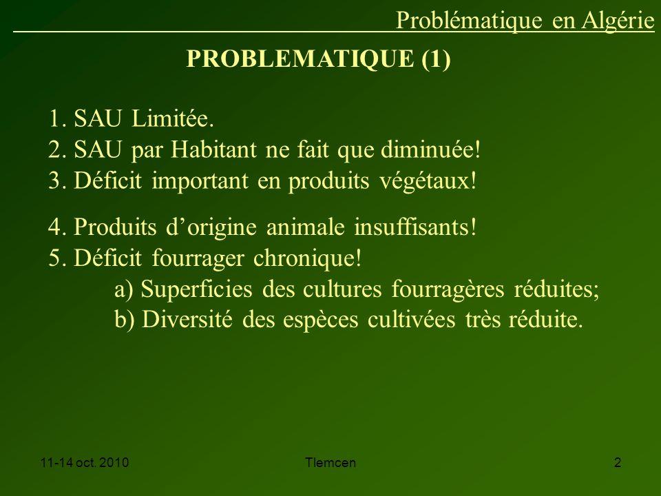 11-14 oct.2010Tlemcen2 PROBLEMATIQUE (1) 1. SAU Limitée.