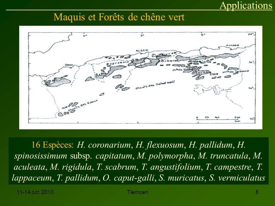 11-14 oct.2010Tlemcen8 Maquis et Forêts de chêne vert 16 Espèces: H.