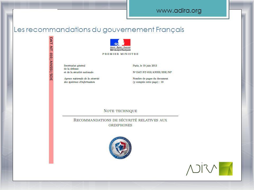 www.adira.org Les recommandations du gouvernement Français