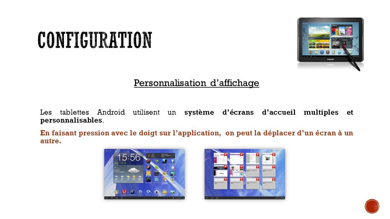 Personnalisation daffichage Les tablettes Android utilisent un système décrans daccueil multiples et personnalisables.