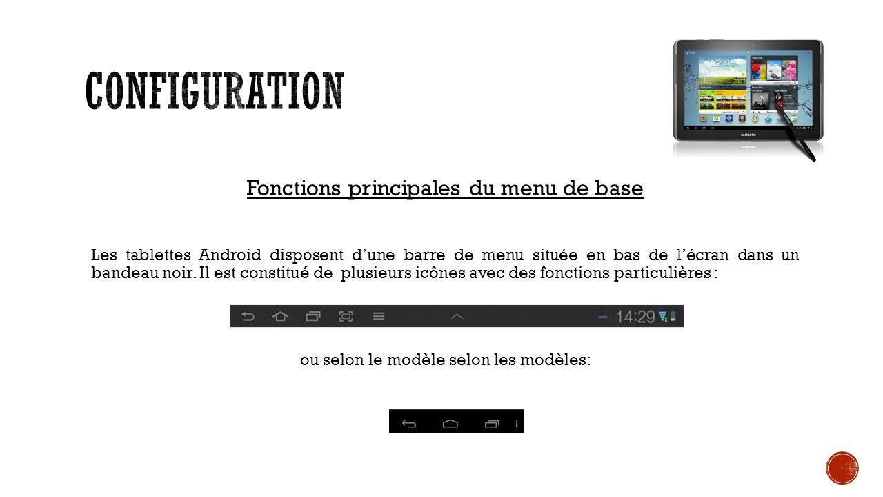 Fonctions principales du menu de base Les tablettes Android disposent dune barre de menu située en bas de lécran dans un bandeau noir.