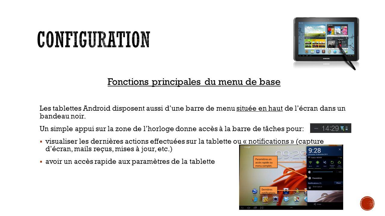 Fonctions principales du menu de base Les tablettes Android disposent aussi dune barre de menu située en haut de lécran dans un bandeau noir.