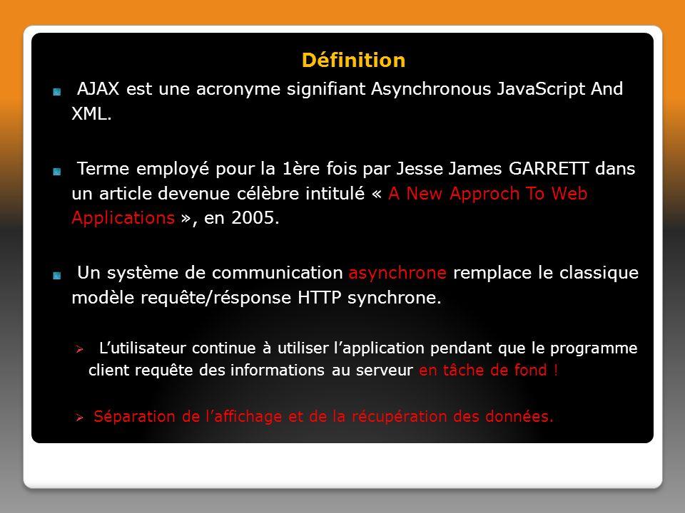 Définition AJAX est une acronyme signifiant Asynchronous JavaScript And XML.