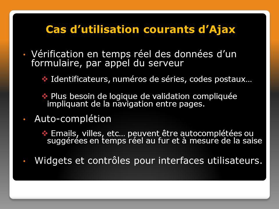 Vérification en temps réel des données dun formulaire, par appel du serveur Identificateurs, numéros de séries, codes postaux… Plus besoin de logique de validation compliquée impliquant de la navigation entre pages.