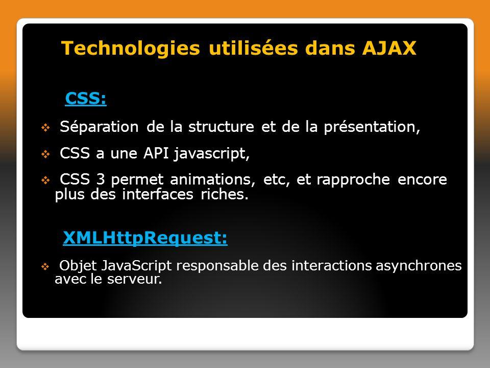 CSS: Séparation de la structure et de la présentation, CSS a une API javascript, CSS 3 permet animations, etc, et rapproche encore plus des interfaces riches.