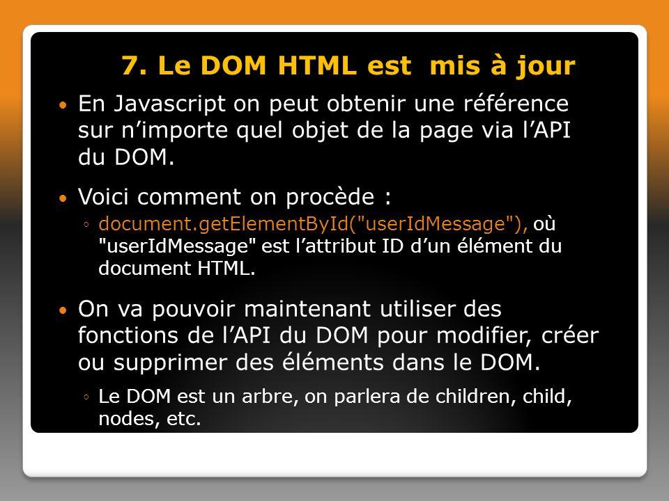 En Javascript on peut obtenir une référence sur nimporte quel objet de la page via lAPI du DOM.
