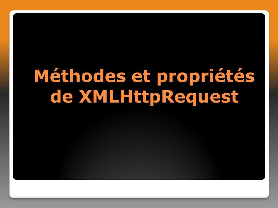 Méthodes et propriétés de XMLHttpRequest