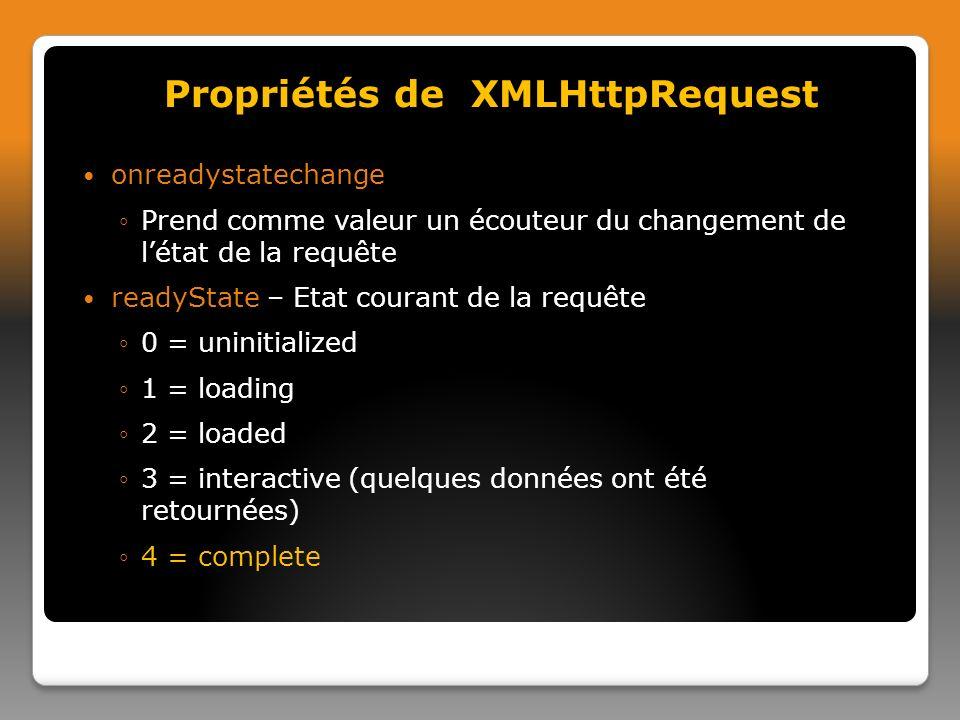 onreadystatechange Prend comme valeur un écouteur du changement de létat de la requête readyState – Etat courant de la requête 0 = uninitialized 1 = loading 2 = loaded 3 = interactive (quelques données ont été retournées) 4 = complete Propriétés de XMLHttpRequest