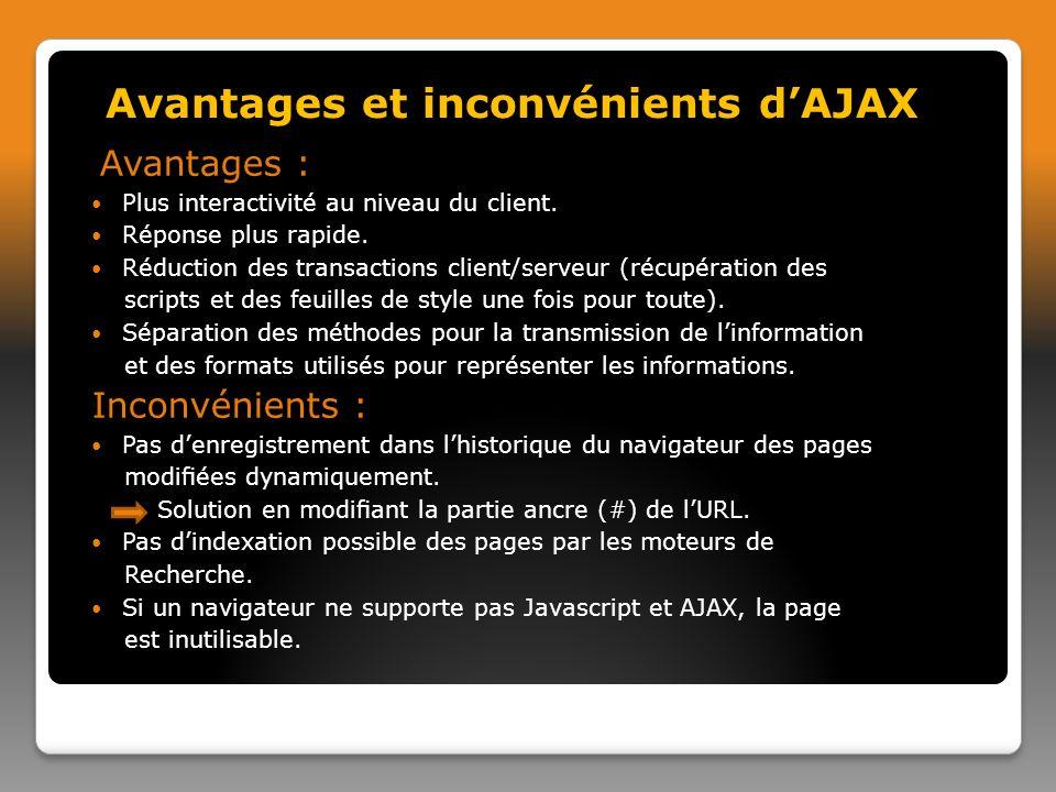Avantages : Plus interactivité au niveau du client.
