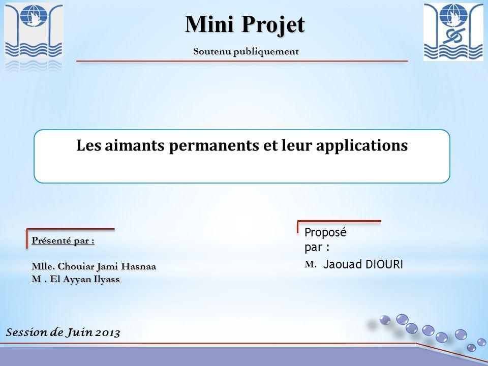 Session de Juin 2013 Mini Projet Soutenu publiquement Présenté par : Mlle. Chouiar Jami Hasnaa M. El Ayyan Ilyass M. Proposé par : Jaouad DIOURI