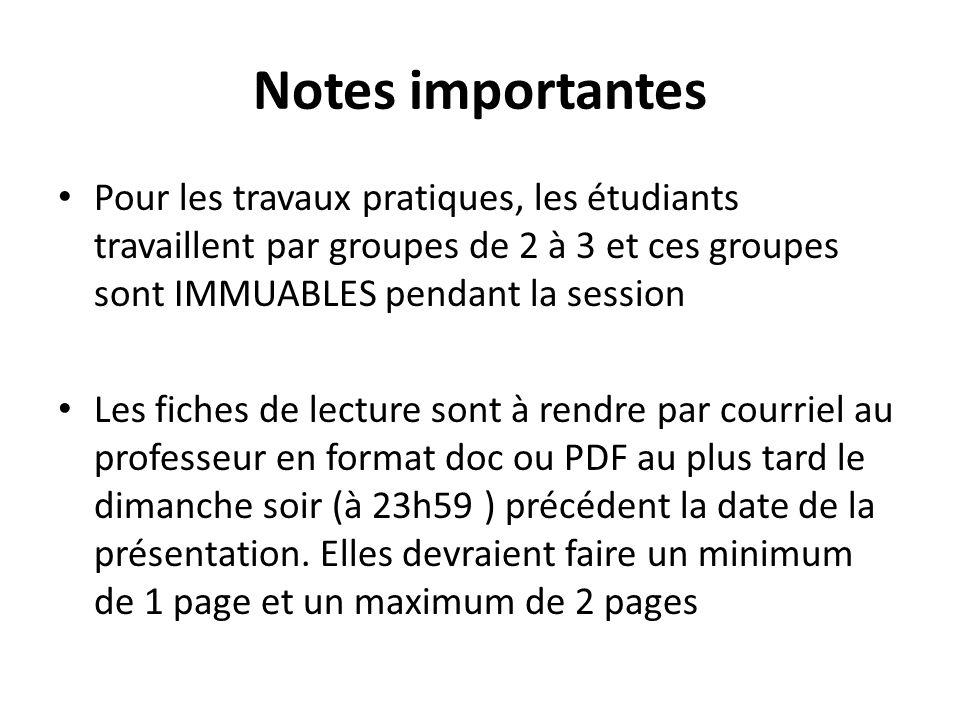 Notes importantes Pour les travaux pratiques, les étudiants travaillent par groupes de 2 à 3 et ces groupes sont IMMUABLES pendant la session Les fiches de lecture sont à rendre par courriel au professeur en format doc ou PDF au plus tard le dimanche soir (à 23h59 ) précédent la date de la présentation.