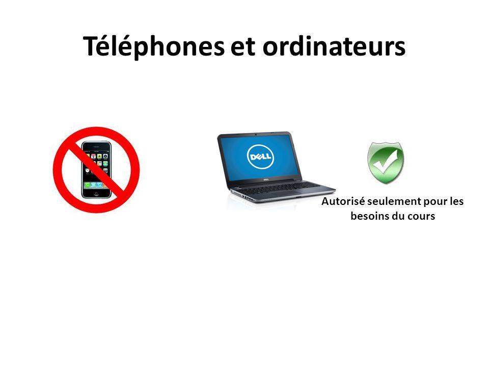 Téléphones et ordinateurs Autorisé seulement pour les besoins du cours