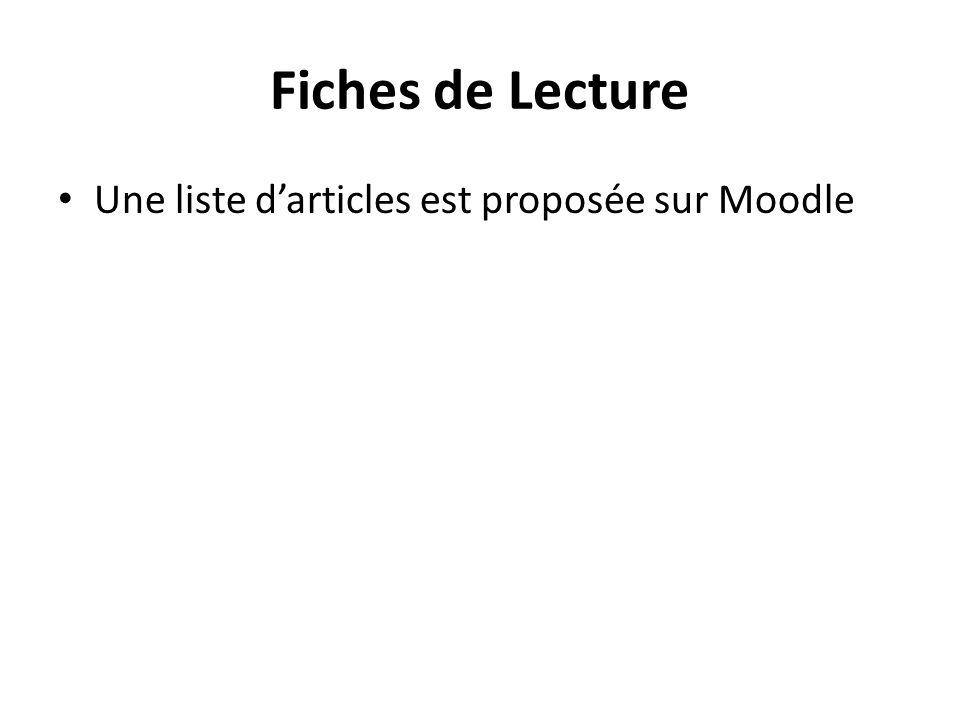 Fiches de Lecture Une liste darticles est proposée sur Moodle
