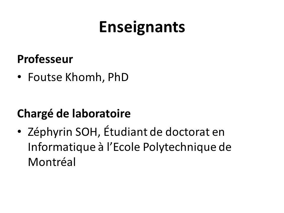 Enseignants Professeur Foutse Khomh, PhD Chargé de laboratoire Zéphyrin SOH, Étudiant de doctorat en Informatique à lEcole Polytechnique de Montréal