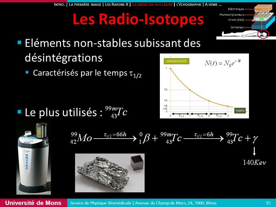 Université de Mons Eléments non-stables subissant des désintégrations Caractérisés par le temps 1/2 Le plus utilisés : Les Radio-Isotopes 15 Service d