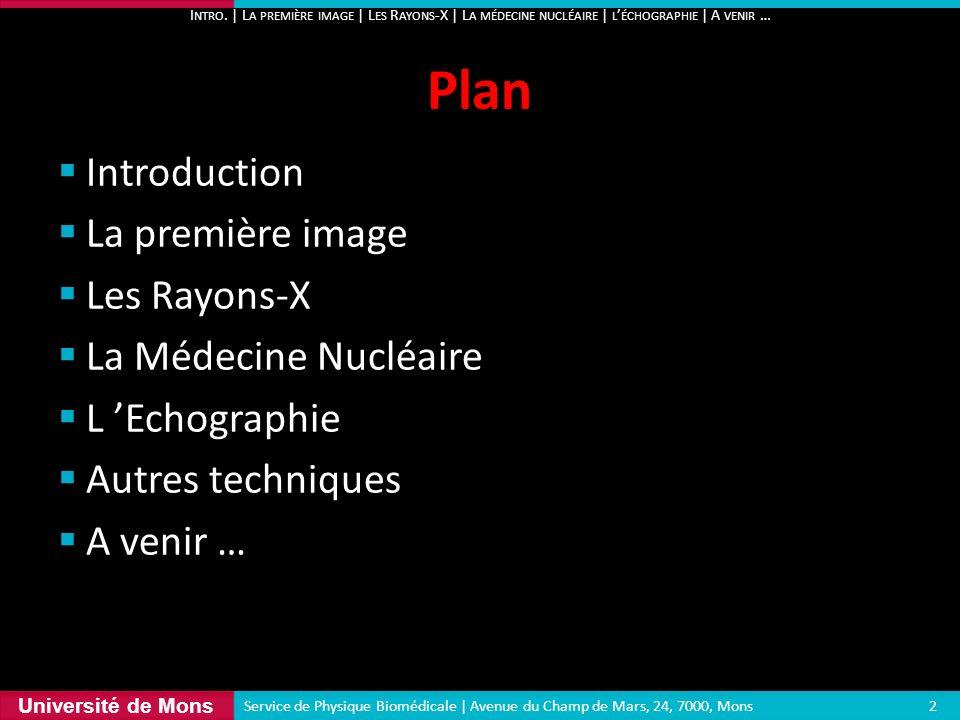 Université de Mons Introduction La première image Les Rayons-X La Médecine Nucléaire L Echographie Autres techniques A venir … Plan I NTRO. | L A PREM