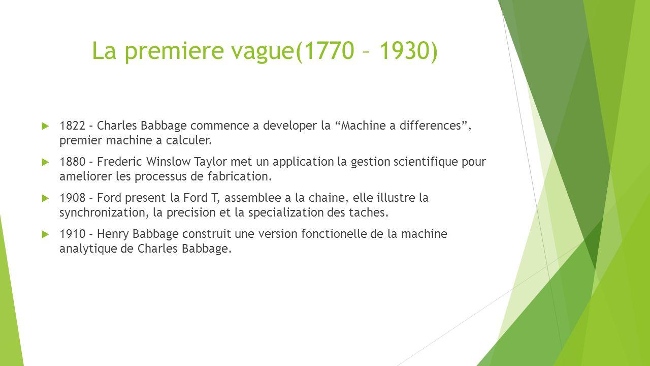 La premiere vague(1770 – 1930) 1822 – Charles Babbage commence a developer la Machine a differences, premier machine a calculer.
