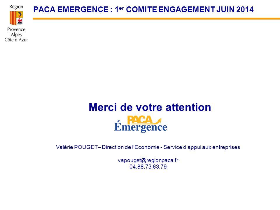 Merci de votre attention Valérie POUGET– Direction de lEconomie - Service dappui aux entreprises vapouget@regionpaca.fr 04.88.73.63.79 PACA EMERGENCE