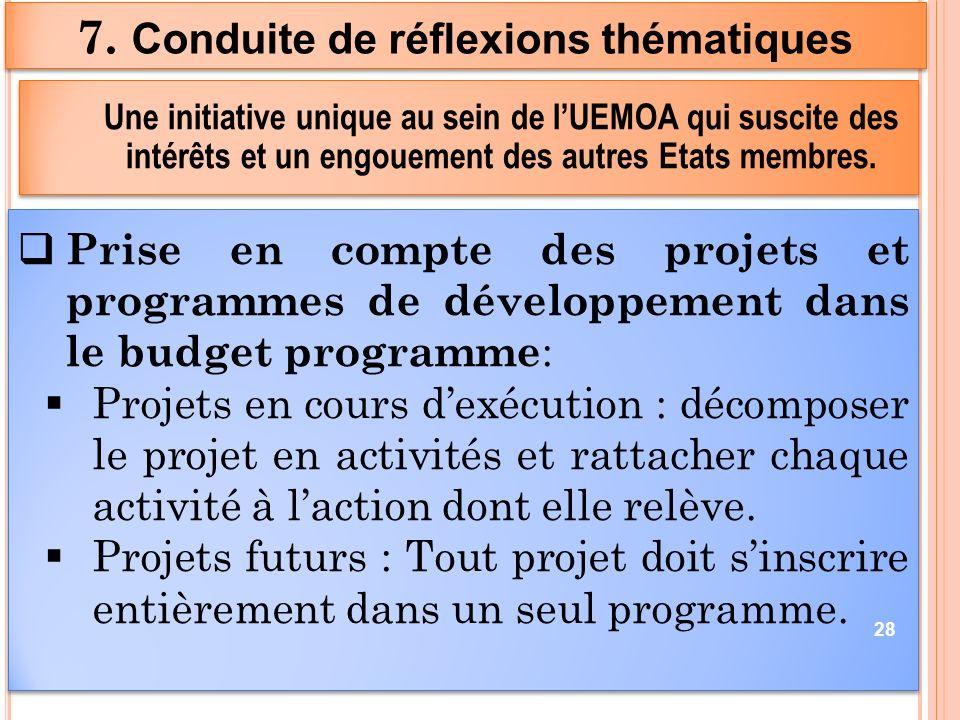 Prise en compte des projets et programmes de développement dans le budget programme : Projets en cours dexécution : décomposer le projet en activités et rattacher chaque activité à laction dont elle relève.