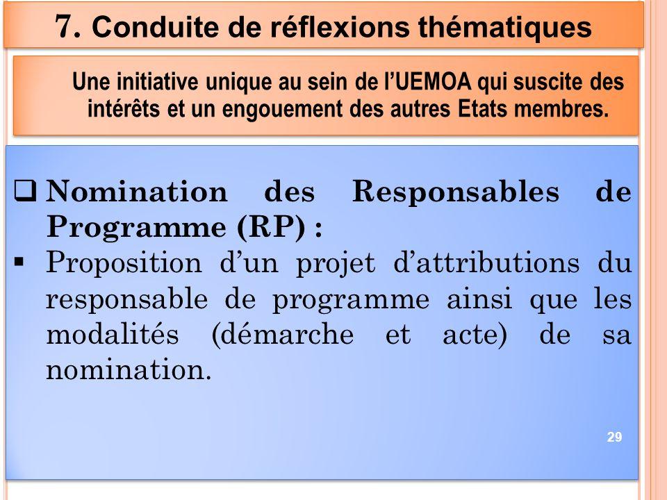 Nomination des Responsables de Programme (RP) : Proposition dun projet dattributions du responsable de programme ainsi que les modalités (démarche et acte) de sa nomination.