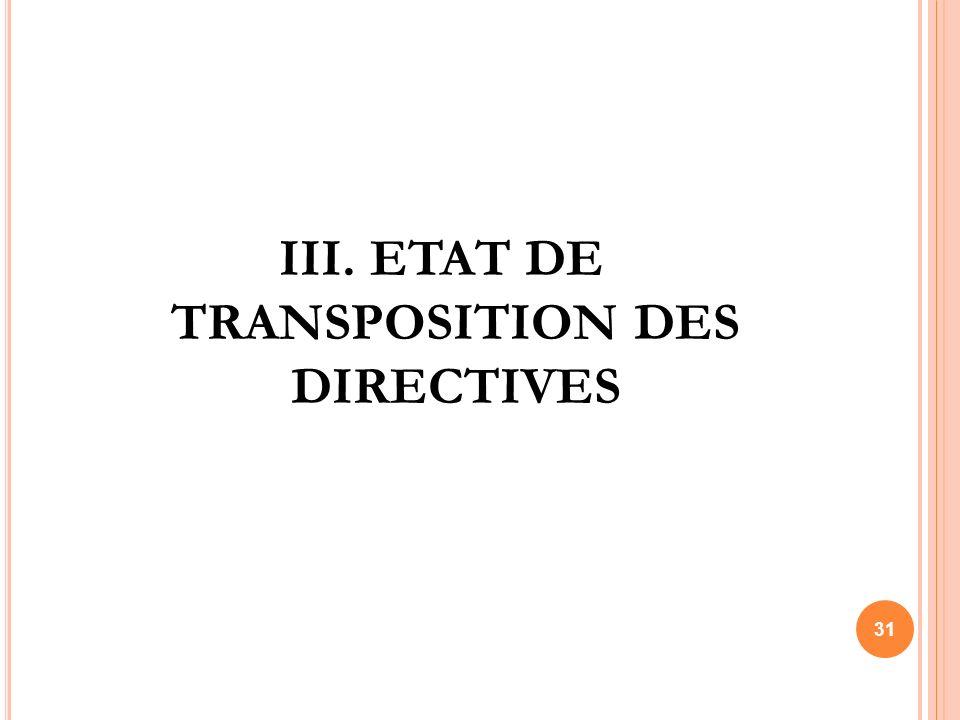 III. ETAT DE TRANSPOSITION DES DIRECTIVES 31