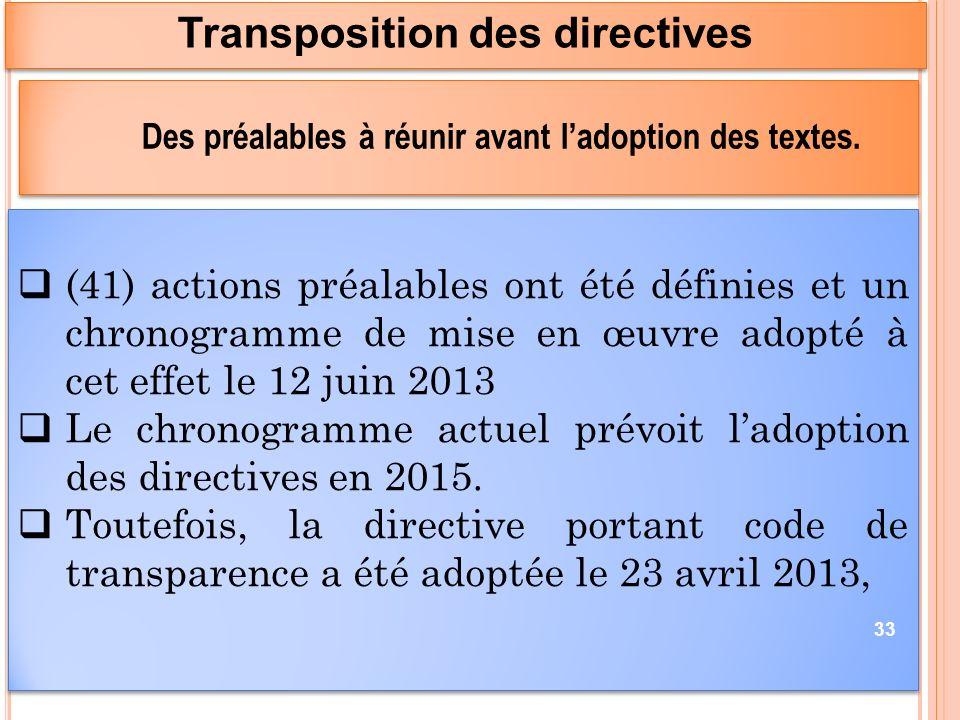 (41) actions préalables ont été définies et un chronogramme de mise en œuvre adopté à cet effet le 12 juin 2013 Le chronogramme actuel prévoit ladoption des directives en 2015.