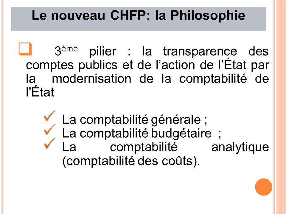 Le nouveau CHFP: la Philosophie 3 ème pilier : la transparence des comptes publics et de laction de lÉtat par la modernisation de la comptabilité de l État La comptabilité générale ; La comptabilité budgétaire ; La comptabilité analytique (comptabilité des coûts).