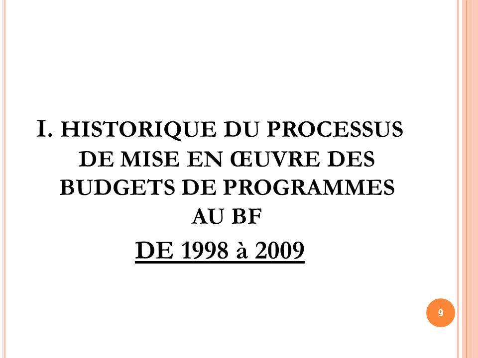 I. HISTORIQUE DU PROCESSUS DE MISE EN ŒUVRE DES BUDGETS DE PROGRAMMES AU BF DE 1998 à 2009 9