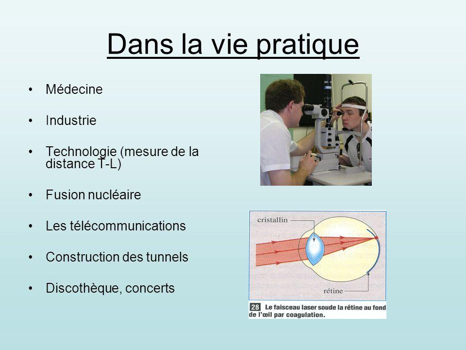 Dans la vie pratique Médecine Industrie Technologie (mesure de la distance T-L) Fusion nucléaire Les télécommunications Construction des tunnels Discothèque, concerts