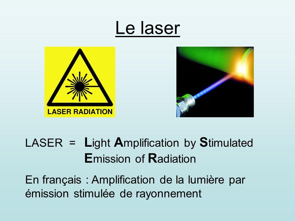 Objectifs de cet exposé 1) Les propriétés de la lumière laser 2) Le principe de fonctionnement –description –pompage optique –émission stimulée –amplification 3) Les types 4) Lobservation, la sécurité 5) Les applications