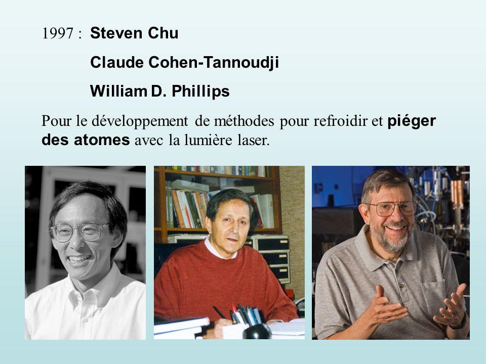 1997 : Steven Chu Claude Cohen-Tannoudji William D.