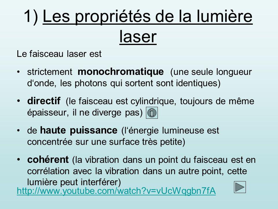 Le faisceau laser est strictement monochromatique (une seule longueur donde, les photons qui sortent sont identiques) directif (le faisceau est cylindrique, toujours de même épaisseur, il ne diverge pas) de haute puissance (lénergie lumineuse est concentrée sur une surface très petite) cohérent (la vibration dans un point du faisceau est en corrélation avec la vibration dans un autre point, cette lumière peut interférer) 1) Les propriétés de la lumière laser http://www.youtube.com/watch?v=vUcWqgbn7fA