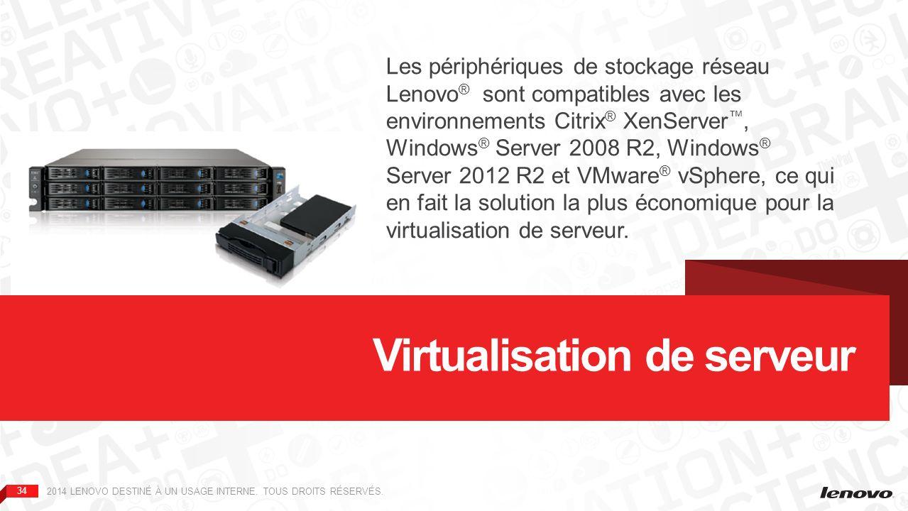 35 Utilisez votre périphérique px de bureau ou en rack de Lenovo® EMC® en tant que périphérique de stockage partagé (via le protocole iSCSI et/ou NFS), avec les serveurs virtualisés de votre entreprise, qu elle soit de petite taille ou décentralisée.