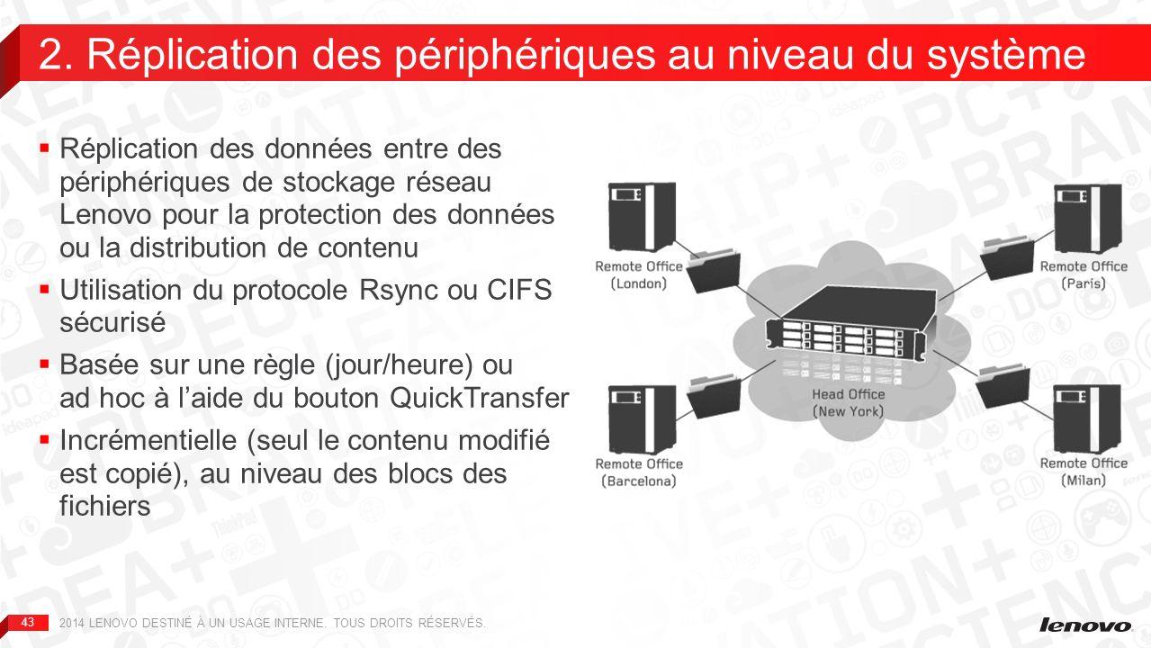 44 Amazon S3 –Le périphérique NAS synchronise l ensemble des données qu il contient sur votre compte S3 EMC Atmos –Stockage de données dans le cloud, à partir d un périphérique NAS (clouds publics et privés) LenovoEMC Personal Cloud –Le périphérique de stockage réseau Lenovo héberge votre Personal Cloud.