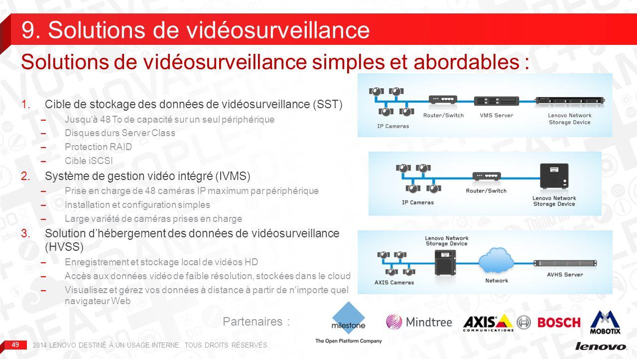 50 Logiciel de gestion vidéo (VMS) intégré au périphérique NAS : Permet d obtenir et d enregistrer des données provenant de caméras IP, lors de la détection de mouvements et/ou à un instant défini Affiche les images et les requêtes liées aux vidéos enregistrées Permet l accès local et à distance à des périphériques client Sites multiples avec connexion VMS+NAS au siège de l entreprise grâce au logiciel de gestion centrale (CMS) : Les divers sites copient les enregistrements sur le CMS du siège Tolérance aux pannes permettant de faire face aux pannes du réseau WAN Salle de contrôle centrale pour la surveillance et la gestion en direct Duplication des enregistrements et temps de rétention des archives centrales élevé Lenovo propose l ensemble stockage et VMS + serveur et CMS 9.