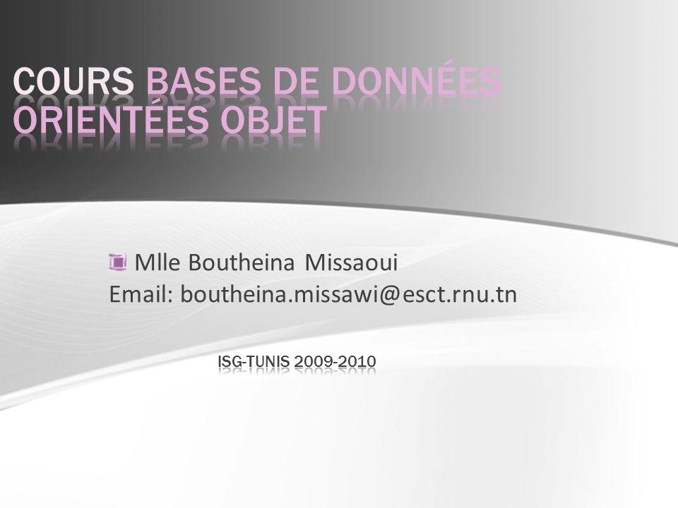 2 B.Missaoui - Cours BDOO Cours de André Gamache - luniversité de Laval, Québec http://www2.ift.ulaval.ca/~agamache/IFT19023/H2009/index.html Cours de Pierre Wolper - Institut Montefiore, Université de Liège, Belgique http : //www.monteore.ulg.ac.be/~pw/cours/bd.html http://www.service-architecture.com/object-oriented-databases
