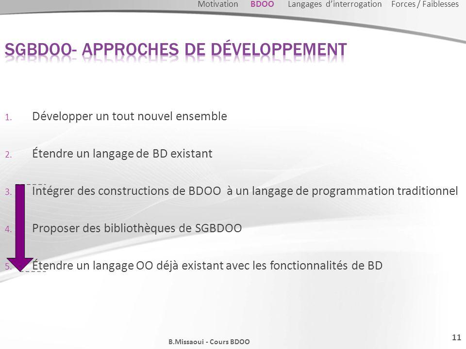 1. Développer un tout nouvel ensemble 2. Étendre un langage de BD existant 3. Intégrer des constructions de BDOO à un langage de programmation traditi
