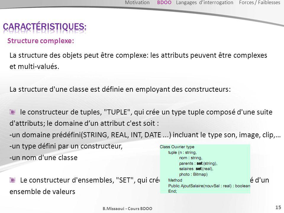 La structure des objets peut être complexe: les attributs peuvent être complexes et multi-valués. La structure d'une classe est définie en employant d