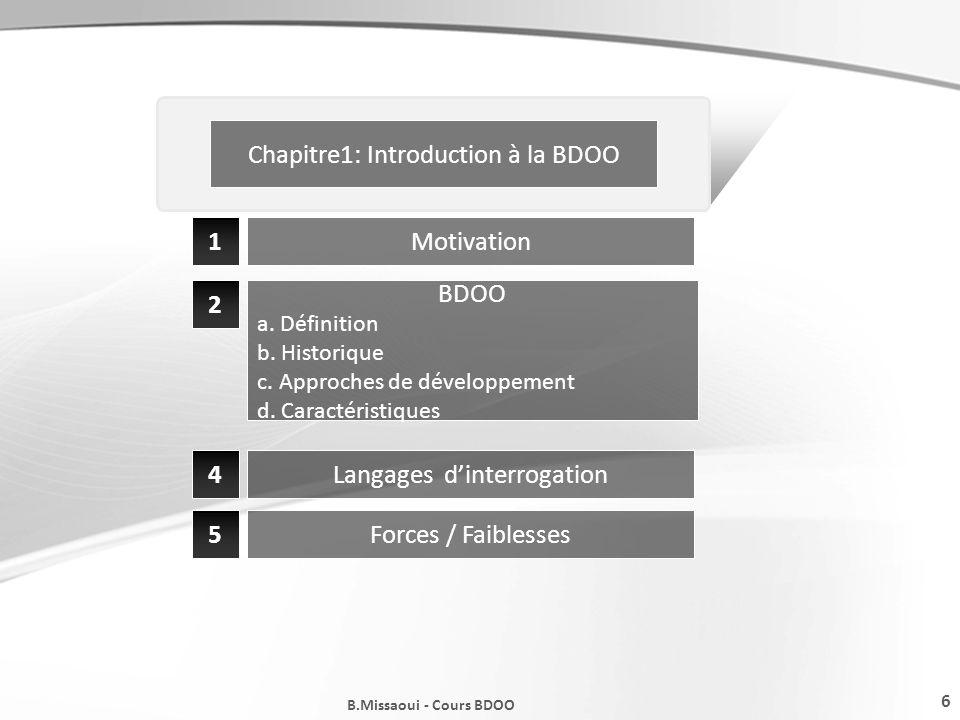 6 B.Missaoui - Cours BDOO Chapitre1: Introduction à la BDOO 1 2 Motivation BDOO a. Définition b. Historique c. Approches de développement d. Caractéri