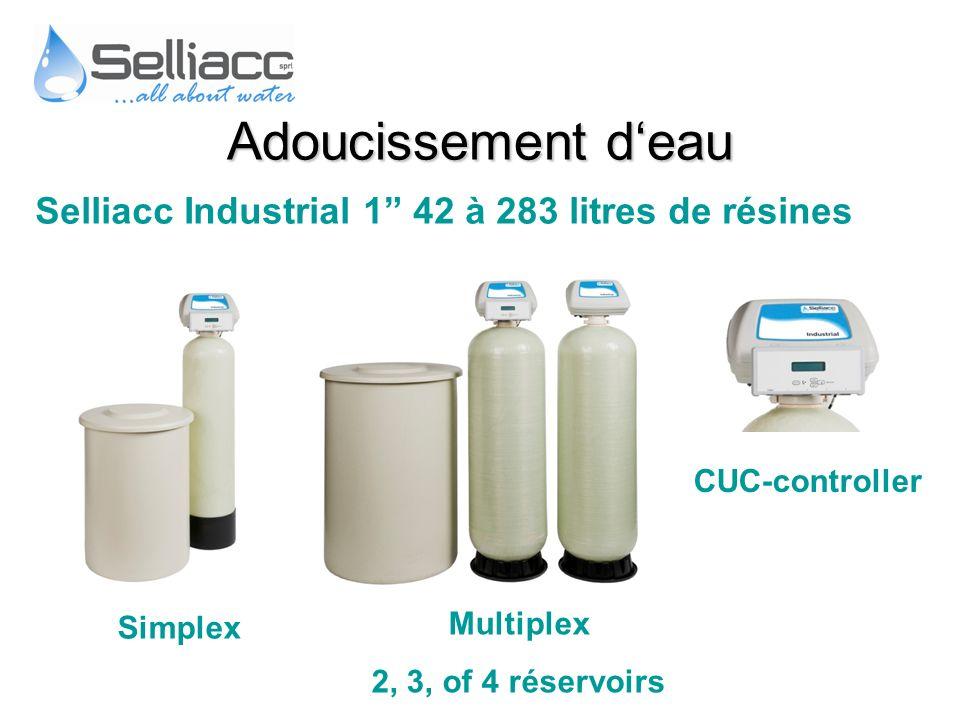 Selliacc Industrial 1 42 à 283 litres de résines CUC-controller Multiplex 2, 3, of 4 réservoirs Simplex Adoucissement deau